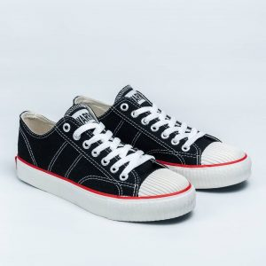 sepatu warrior classic lc low hitam putih black white