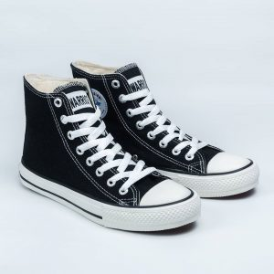 sepatu warrior sparta hc high hitam putih black white