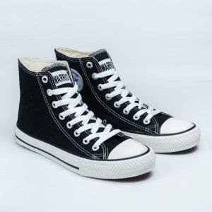 sepatu warrior sparta hc high hitam putih black white