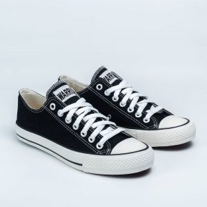 sepatu warrior sparta lc low hitam putih black white